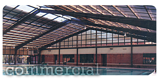 Commercial Pool Enclosure Attached to Building