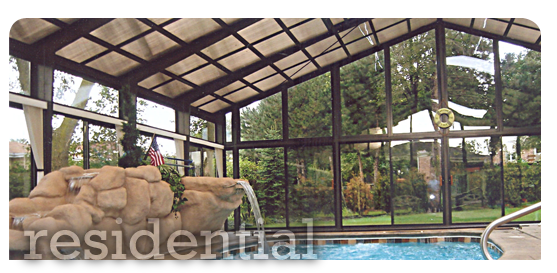 Custom Pool Enclosure with Rock Fountain