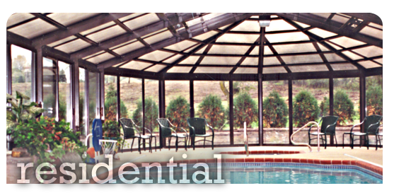 Residential commercial custom enclosure projects portfolio for Year round pool residential