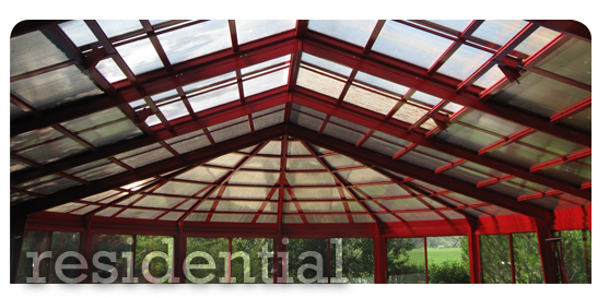 Residential Atria Covering in Red