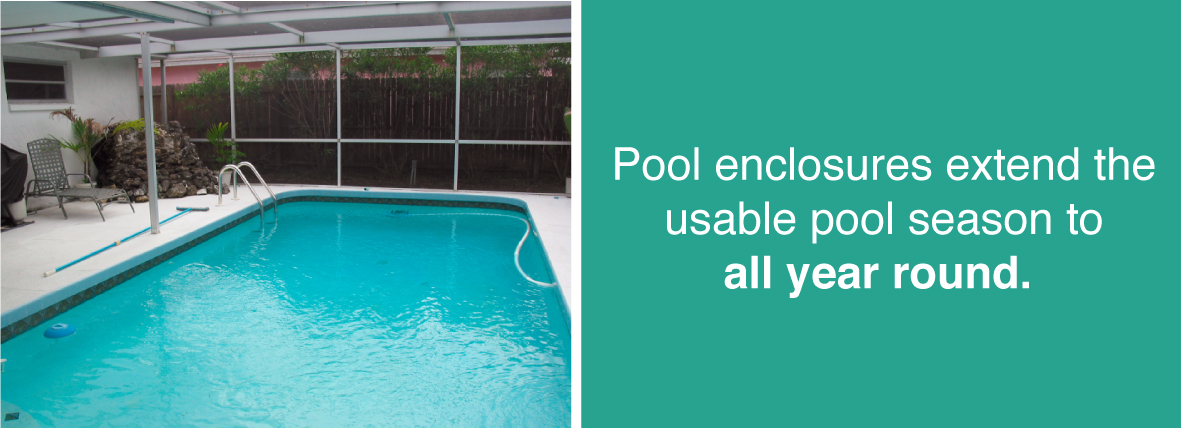 Pool enclosures extend the usable pool season to all year round